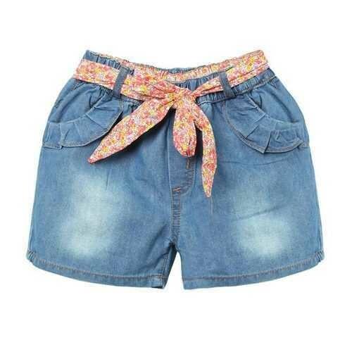 Girl Denim Shorts Children Jeans Pants With Flower Belt