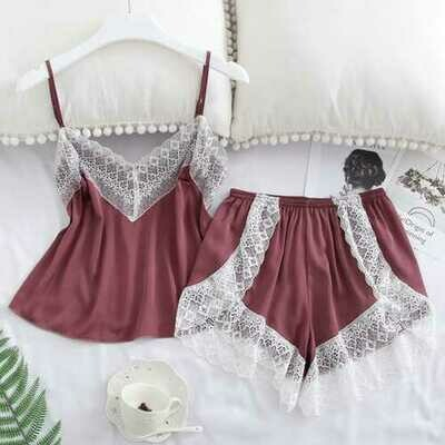 2 pcs/set Women's Sleepwear Sexy Satin Lace V-neck Pyjama Suit Sleeveless Camisole Top + Shorts Red bean paste_S