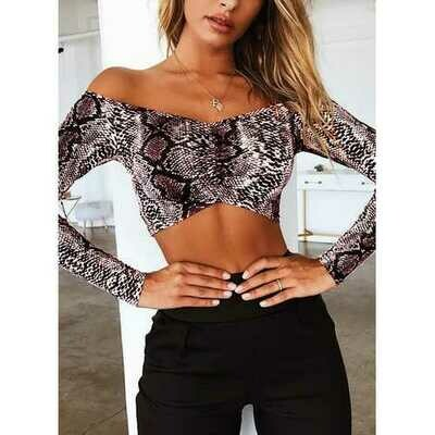Snake Print Crop Tops Brown