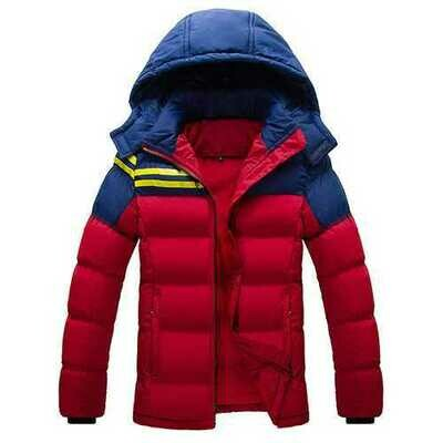 Mens Hooded Thicken Outdoor Jacket Spell Color Zipper Cotton-padded Warm Coat