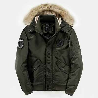 Mens Winter Plus Thick Warm Padded Hooded Outerwear Parka Jacket