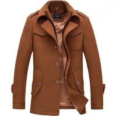 Mens Winter Business Single-breasted Trench Coat Turn-down Collar Casual Suit Overcoat