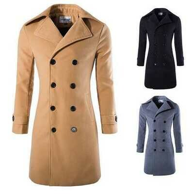 Autumn Winter Mens Turn-down Collar Warm Long Trench Coat Fashion Casual Style Pea Coat