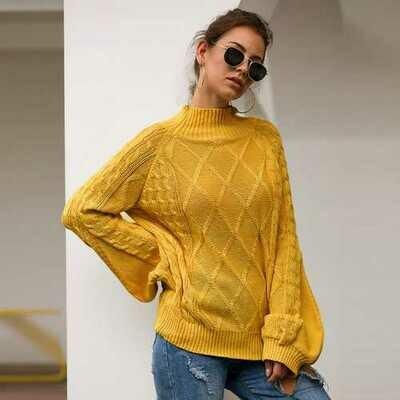 Women Puff Long Sleeve Turtleneck Slim Sweater