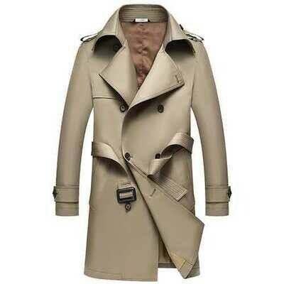 Men's Fall Turn-down Collar Long Trench Slim Fit Polyester Overcoat Jacket