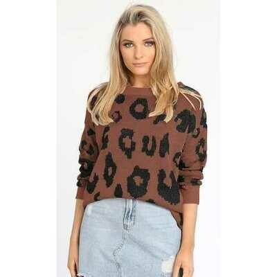 Leopard Long Sleeve Pullover Sweater