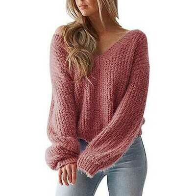 Long Sleeve Deep V-neck Knit Cardigan Loose Sweaters Wine Red