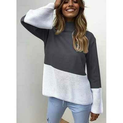 Fashion Women Knitting High Neck Sweaters Dark Blue