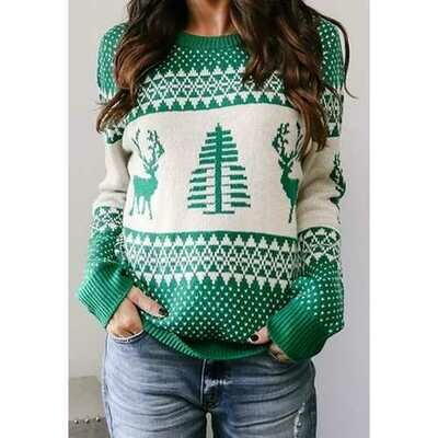 Women Green Christmas Tree O-Neck Sweater