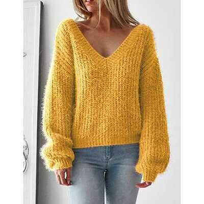 Long Sleeve Deep V-neck  Knit Cardigan Loose Sweaters Yellow