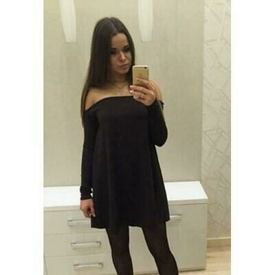 European Slash Neck Long Sleeve Sexy Mini Skirt Black