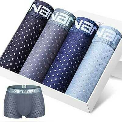 4 Pieces Mens Mesh Ice Silk Underwear Breathable Modal Boxer