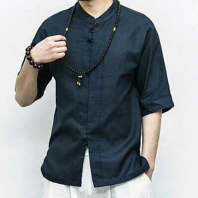 Chinese Style Linen Cotton Vintage Half Sleeve Casual Shirts