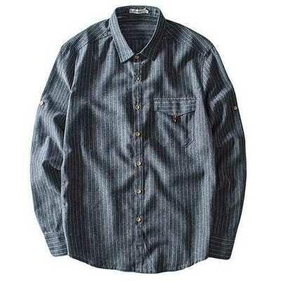 Stripes Printing Cotton Linen Spring Long Sleeve Chic Shirts
