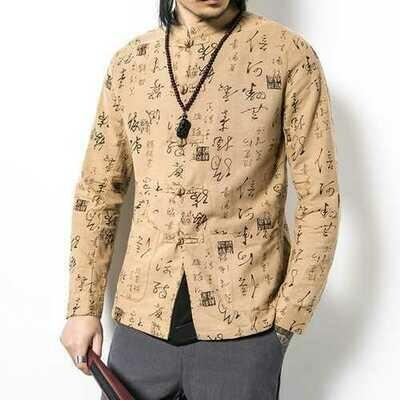 Chinese Knot Buckle Vintage Mandarin Collar Linen Shirt Coat