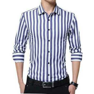 Business Stripe Printing Long Sleeve Slim Button up Shirts f