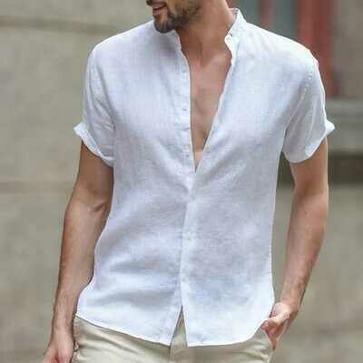 TWO-SIDED Cotton Linen Breathable Comfy Band Collar Shirts