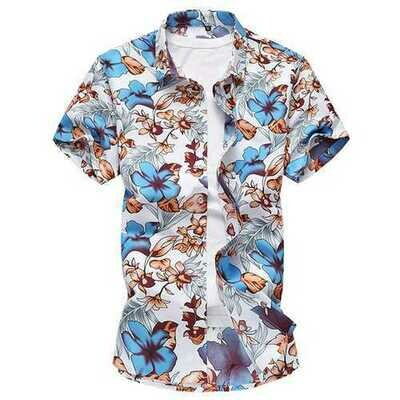 Plus Size S-5XL Hawaii Floral Printing Holiday Beach Shirts