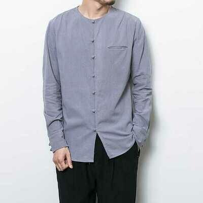 Vintage Chinese Button Linen Cotton O Neck Archaic Shirts