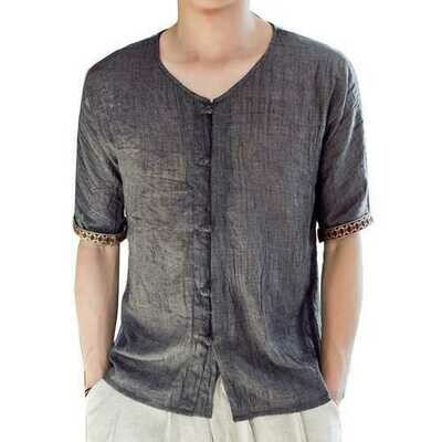 Vintage Ethnic Style Chinese Knot Button Comfy Linen Shirts