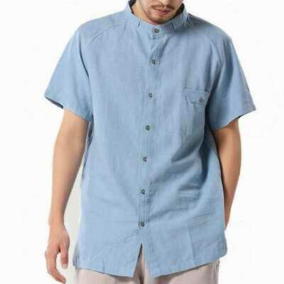TWO-SIDED Vintage Casual Loose Plue Size Band Collar Shirts