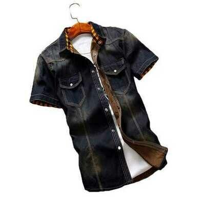 Summer Vintage Classic Short Sleeve Denim Shirts for Men