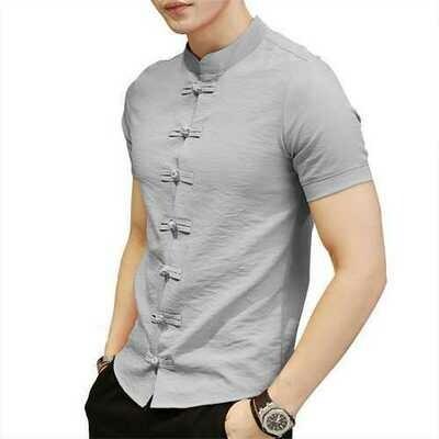Chinese Knot Buckle Vintage Chic Mandarin Collar Men Shirts