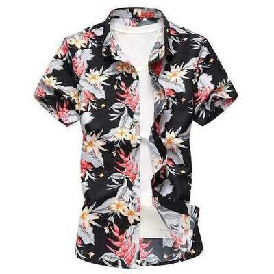Hawaii Floral Printing Plus Size Leisure Holiday Beach Shirt