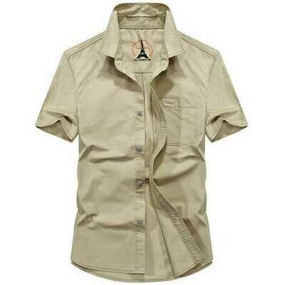 Pure Color Pocket Short Sleeve Cotton Cargo Work Shirts