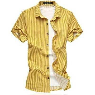 Summer Fashion Casual Stripe Print Elastic Plus Size Shirts