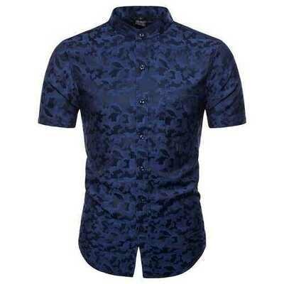 Summer Fashion Camo Printing Short Sleeve Band Collar Shirts