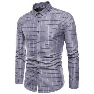 Classic Plaid Slim Fit Long Sleeve Button up Dress Shirts fo