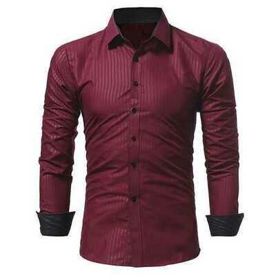 Dark Stripes Long Sleeve Lapel Slim Shirts for Men