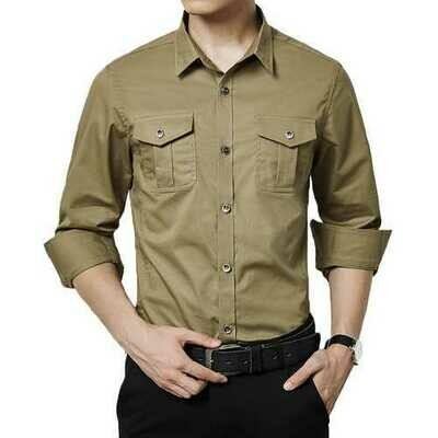 Military Style Casual Business Pockets Cotton Cargo Shirts