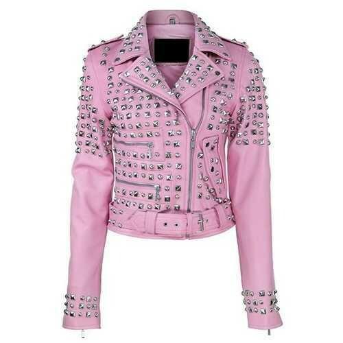 Women Pink Leather Jacket