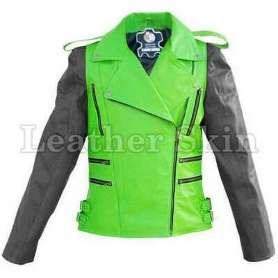 Men Green Leather Jacket