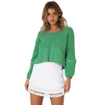Women Long Sleeve Elbow Zip Sweater(without the skirt)