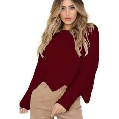 2018 Women O-Neck Irregular Hem Loose Sweater