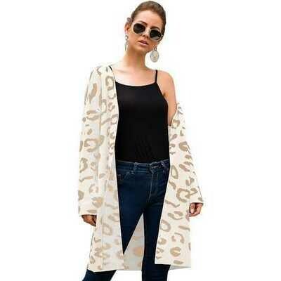 Women White Leopard Print Long Cardigan