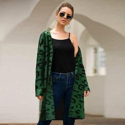 Women Leopard Print Long Cardigan Army green