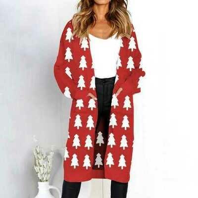 women long sleeve with pocket sweater Cardigan Christmas Tree