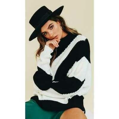 White Black Stripe Pullover Sweater