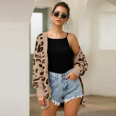 Women Long Sleeves Leopard Print Knitting Cardigan
