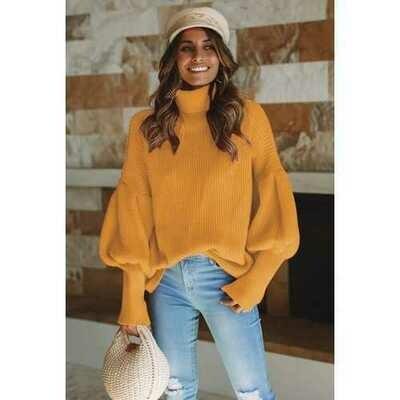Women Turtleneck Lantern Sleeve Sweater