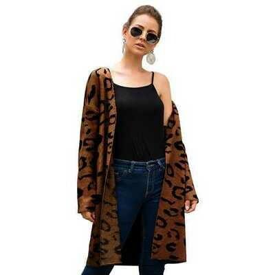 Women Brown Leopard Print Long Cardigan