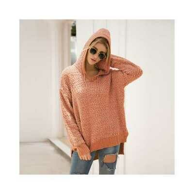 Ribbed V Neckline Popcorn Knit  Sweater Hooded Cardigans