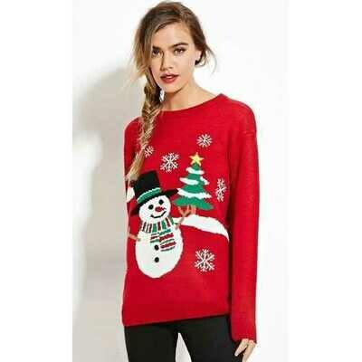 Women Red Christmas Pullover Snowman Sweater