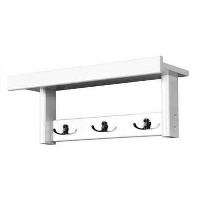 Entryway Hanging Wood Coat Rack with 3 Double Hooks-White - Color: White