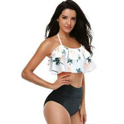 White Coconut Tree Print Swimwear Bikini Set Girls Swimsuit