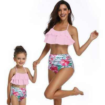 Girls Swimsuits Two pieces Leave and Flower Swimwear Mommy and Me Swimsuit Women Swimwear